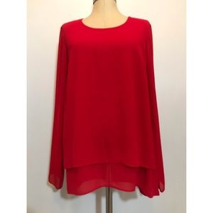 Michael Michael Kors Red Tiered Blouse Sz. M